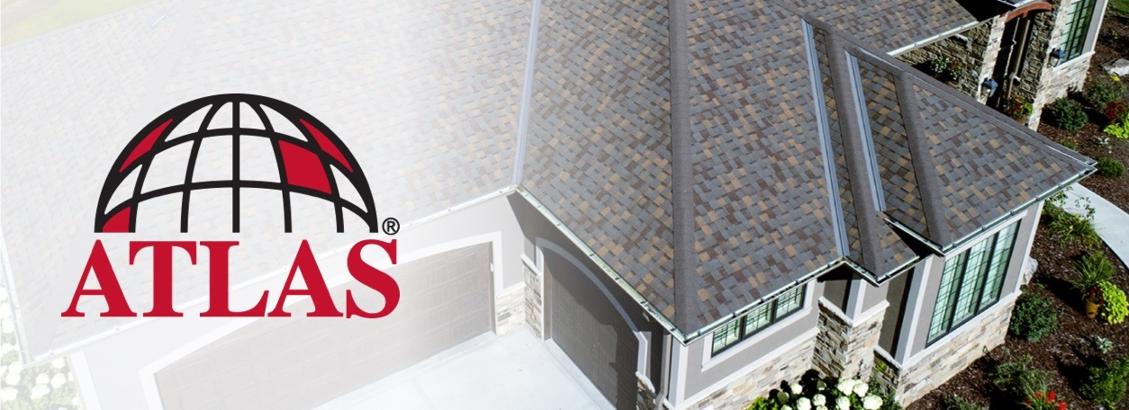 Atlas Roofing Products logo with roof of grey house