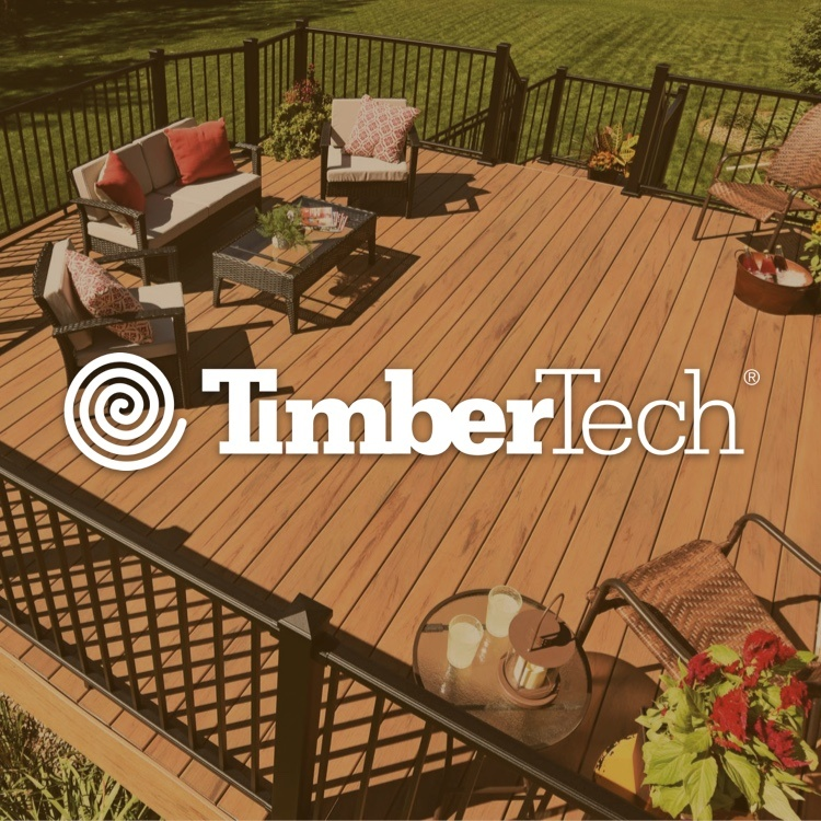 TimberTech logo with TimberTech deck and patio furniture in background