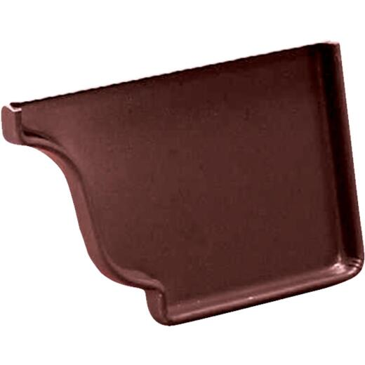 Amerimax 5 In. Galvanized Brown Right Gutter End Cap