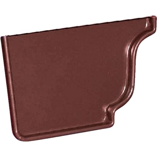 Amerimax 5 In. Galvanized Brown Left Gutter End Cap