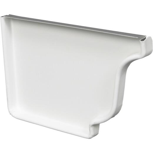 Amerimax 5 In. Galvanized White Left Gutter End Cap