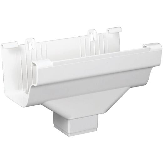 Amerimax 5 In. End with 2 In. x 3 In. Drop Outlet for White Vinyl Traditional K-Style Gutter